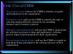cont uses of cmm