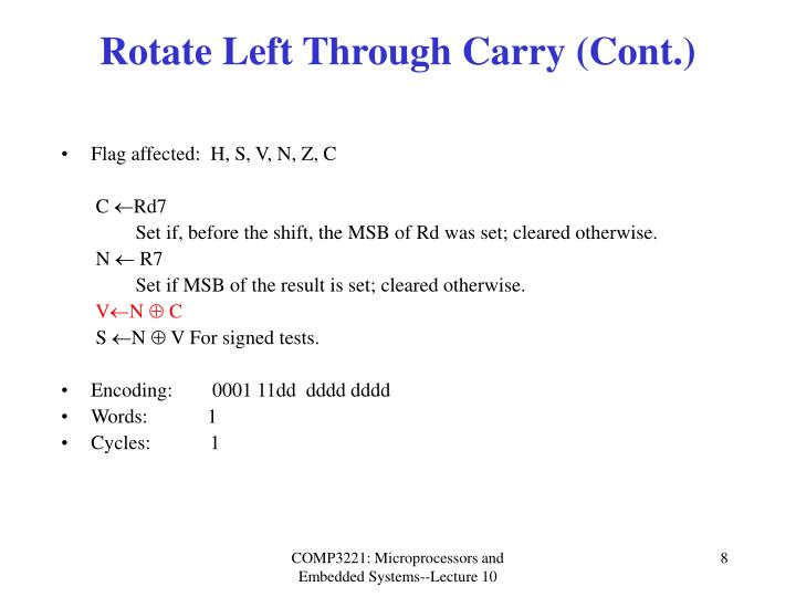 Rotate Left Through Carry (Cont.)