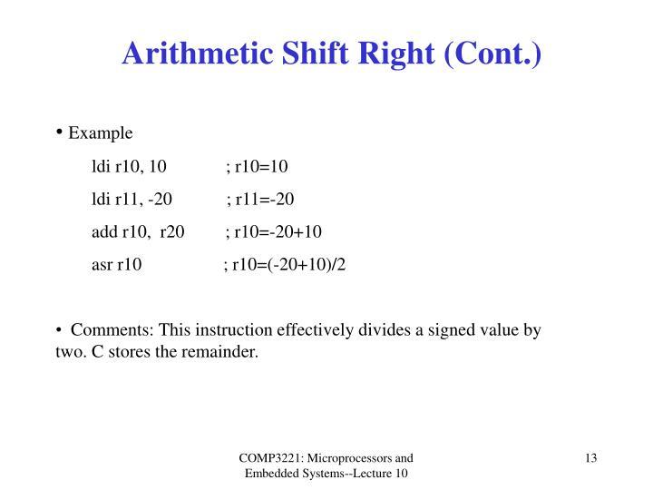 Arithmetic Shift Right (Cont.)