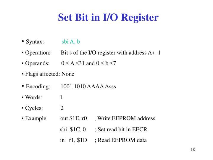 Set Bit in I/O Register