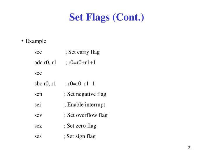 Set Flags (Cont.)