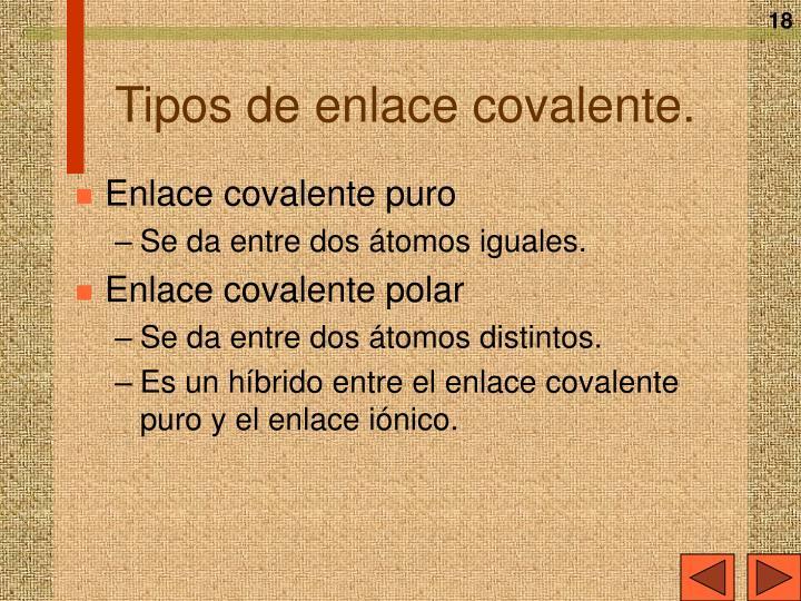 Tipos de enlace covalente.
