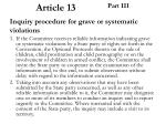 article 13 part iii