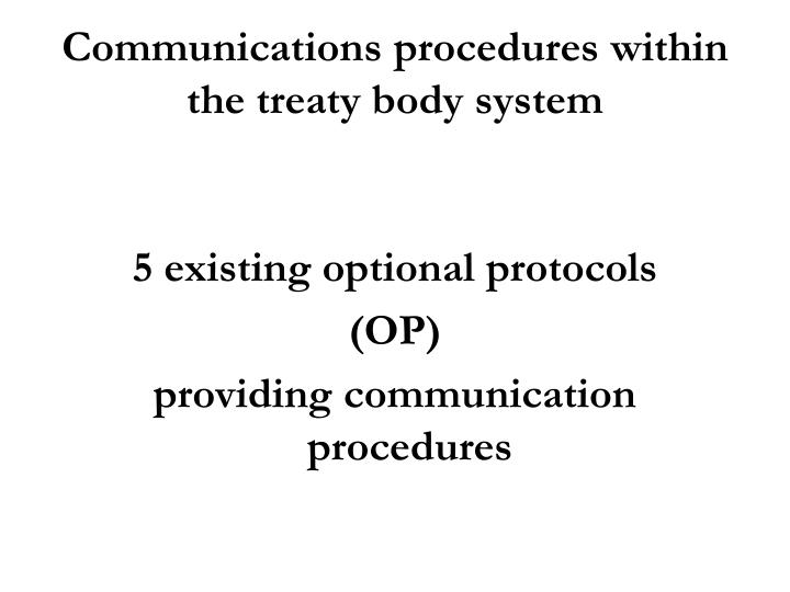 Communications procedures within the treaty body system