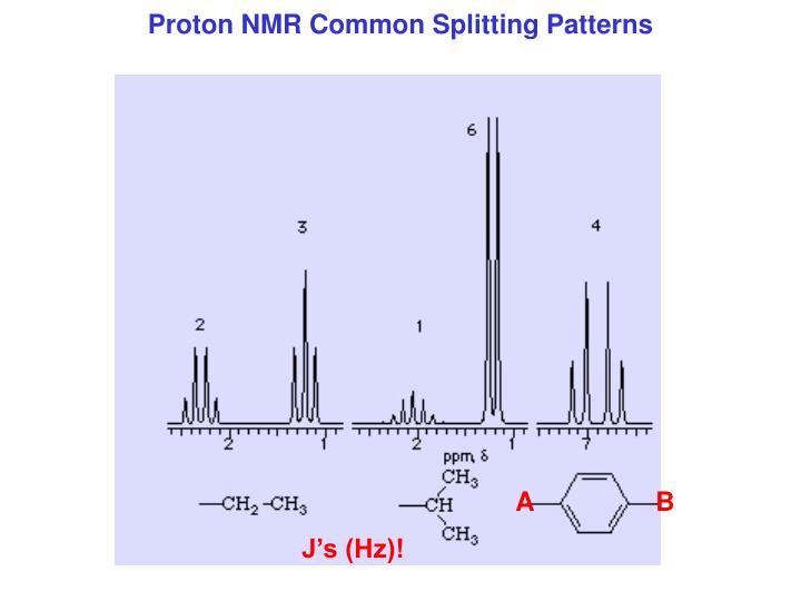 Proton NMR Common Splitting Patterns
