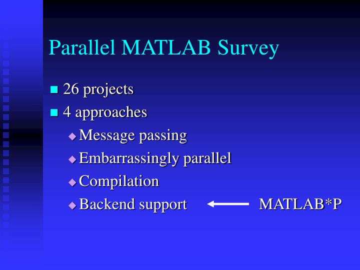 Parallel MATLAB Survey