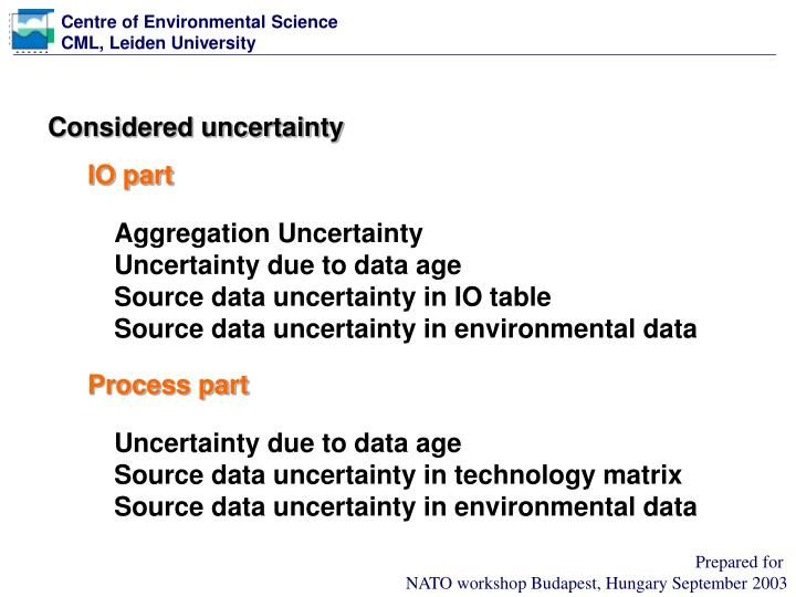 Considered uncertainty
