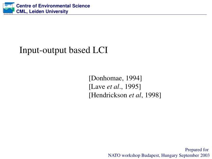 Input-output based LCI
