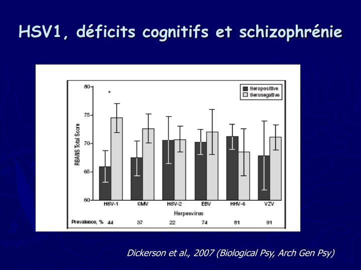 HSV1, déficits cognitifs et schizophrénie