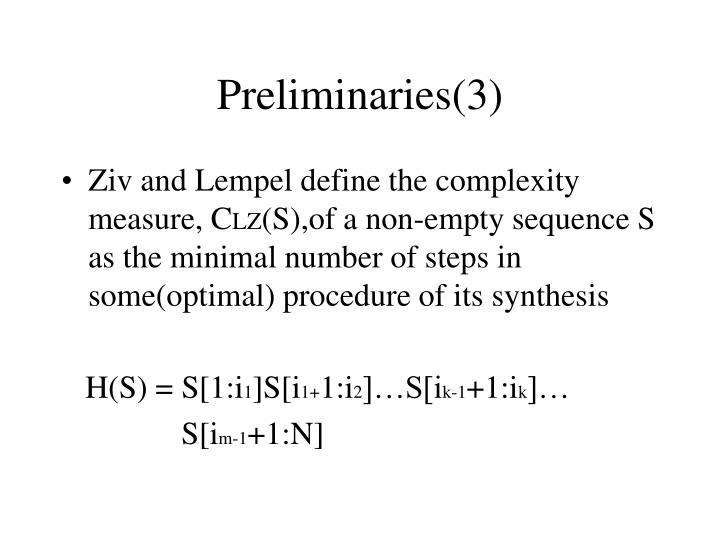 Preliminaries(3)