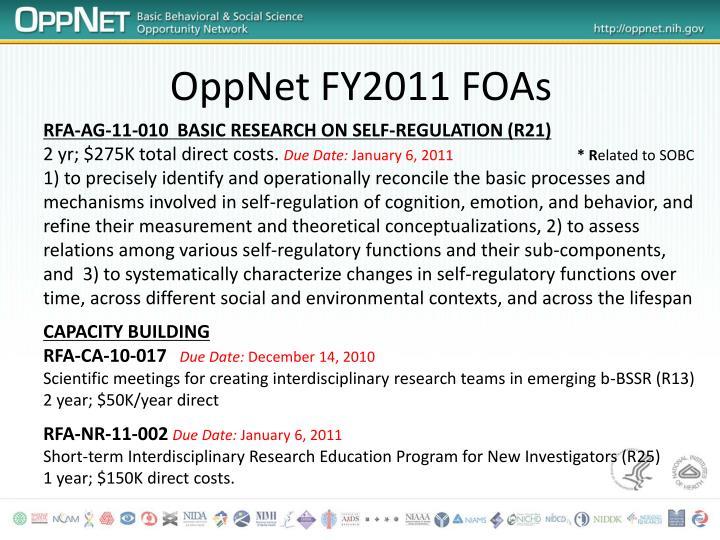 OppNet FY2011 FOAs
