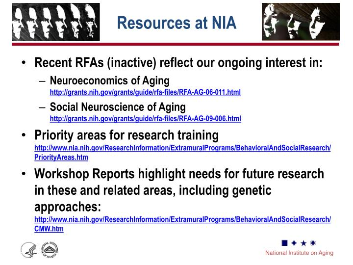 Resources at NIA