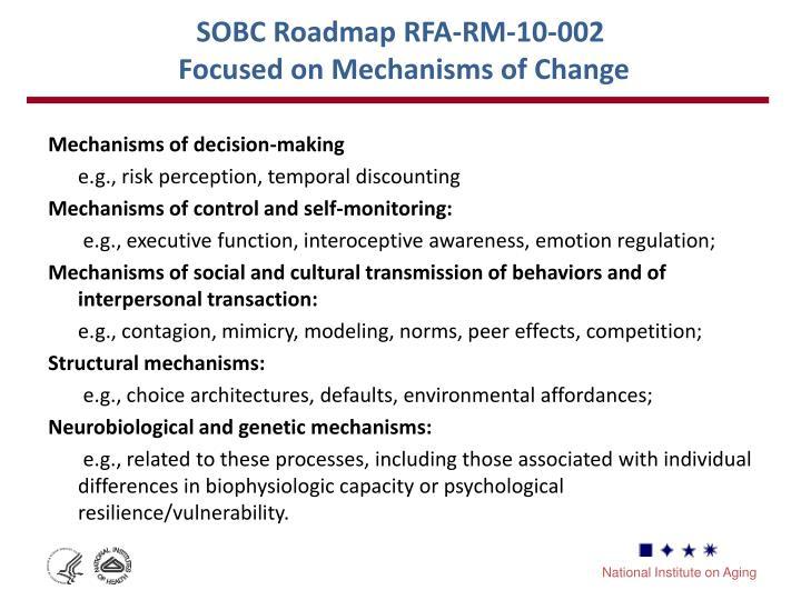 SOBC Roadmap RFA-RM-10-002