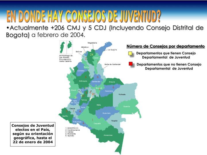 Departamentos que tienen Consejo Departamental  de Juventud