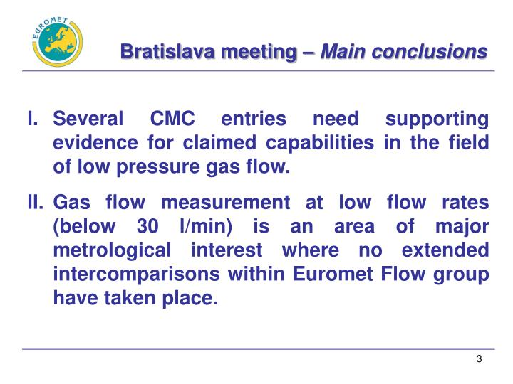 Bratislava meeting main conclusions