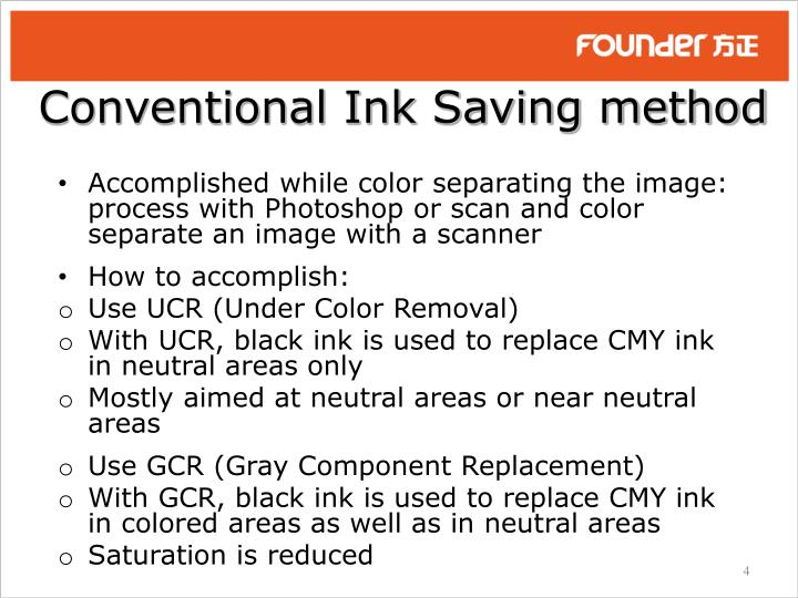 Conventional Ink Saving