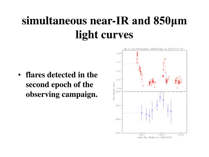 simultaneous near-IR and 850μm light curves