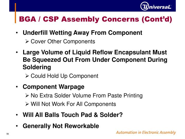 BGA / CSP Assembly Concerns (Cont'd)