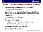 bga csp assembly concerns cont d