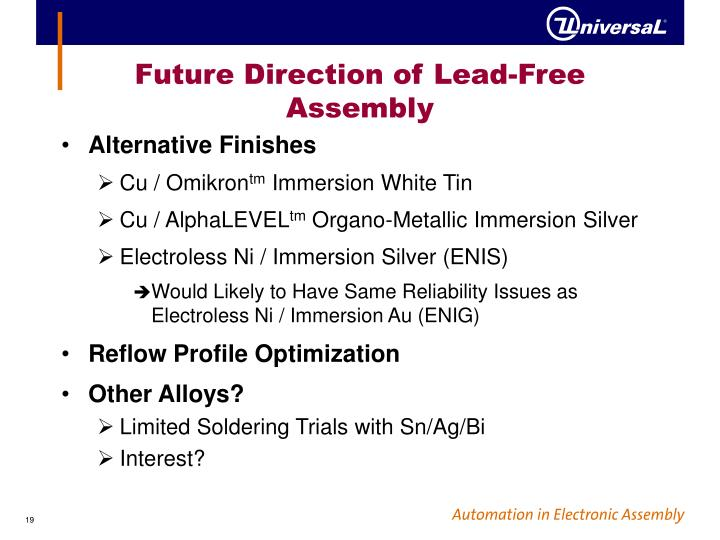 Future Direction of Lead-Free Assembly