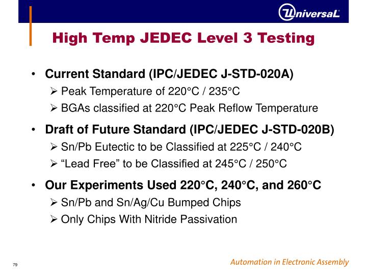 High Temp JEDEC Level 3 Testing