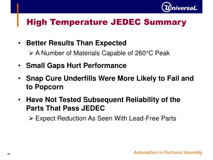 High Temperature JEDEC Summary