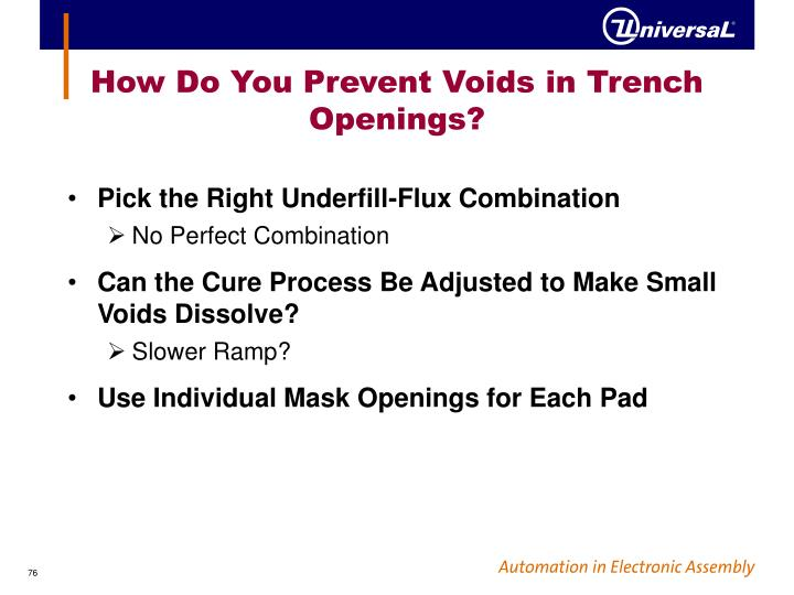 How Do You Prevent Voids in Trench Openings?