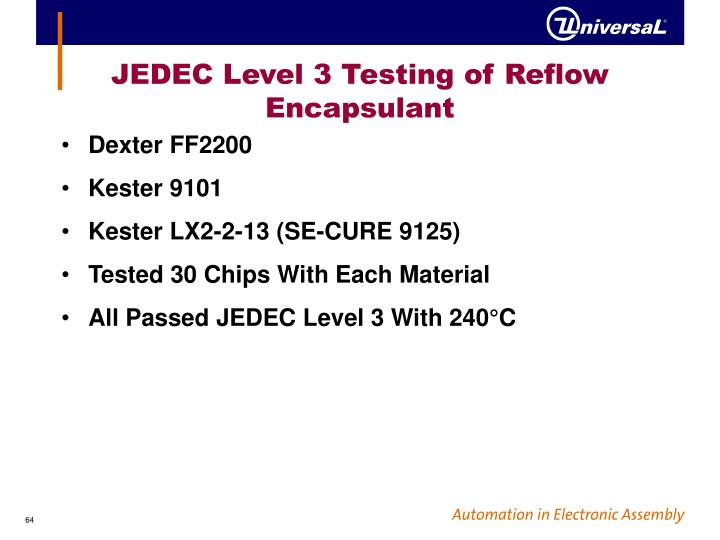 JEDEC Level 3 Testing of Reflow Encapsulant