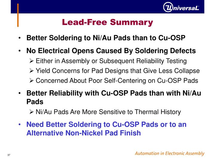 Lead-Free Summary