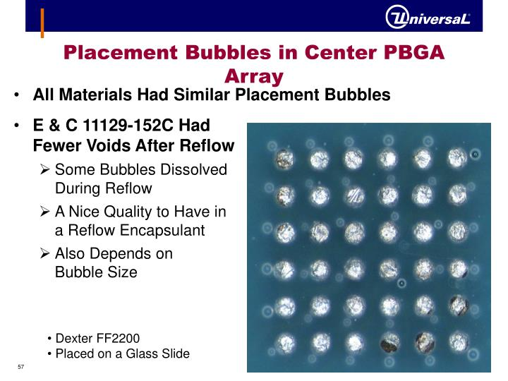 Placement Bubbles in Center PBGA Array