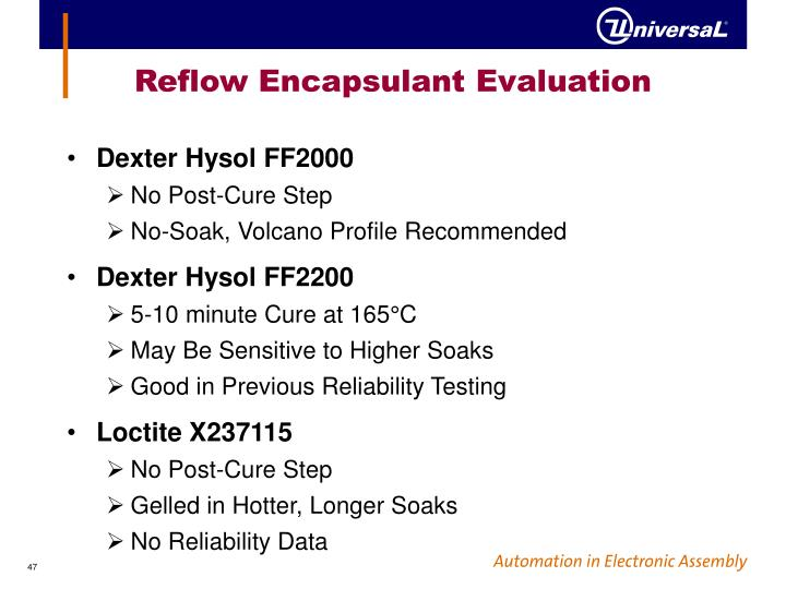 Reflow Encapsulant Evaluation
