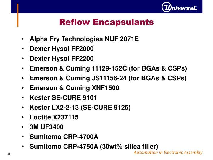 Reflow Encapsulants