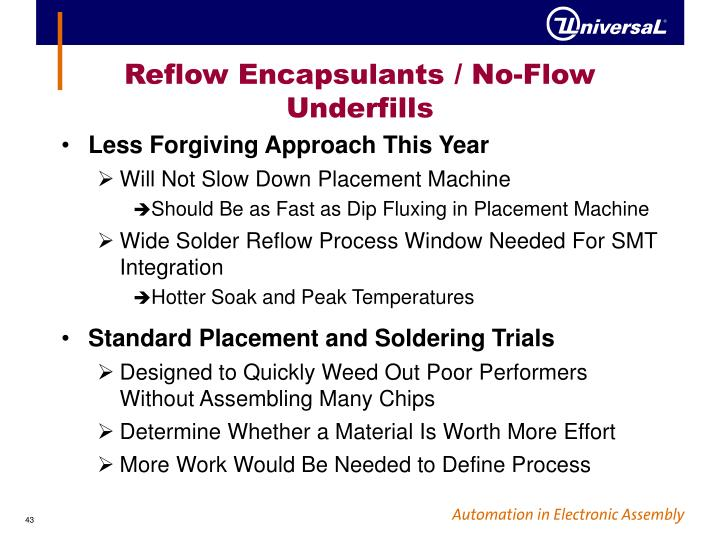 Reflow Encapsulants / No-Flow Underfills