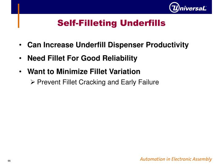 Self-Filleting Underfills