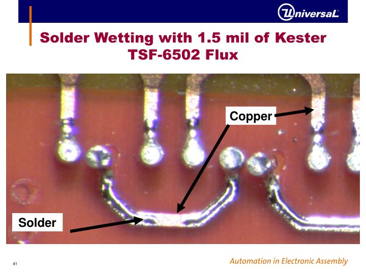 Solder Wetting with 1.5 mil of Kester TSF-6502 Flux