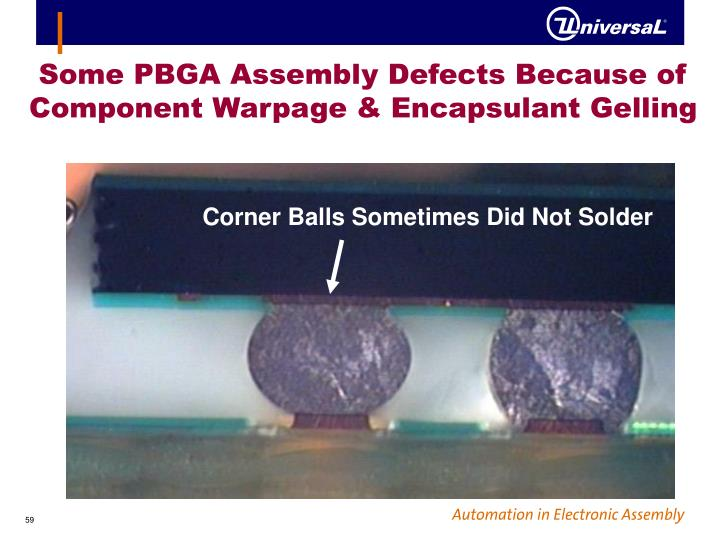 Some PBGA Assembly Defects Because of Component Warpage & Encapsulant Gelling