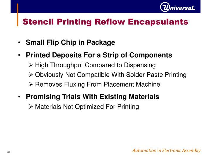 Stencil Printing Reflow Encapsulants