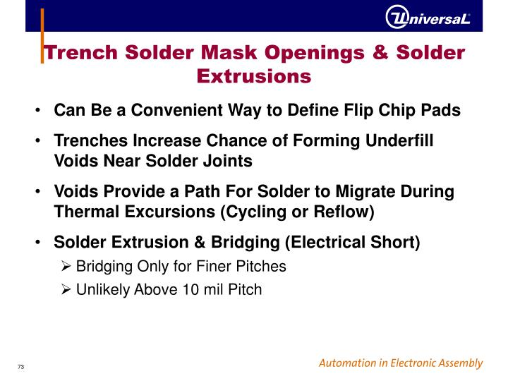Trench Solder Mask Openings & Solder Extrusions