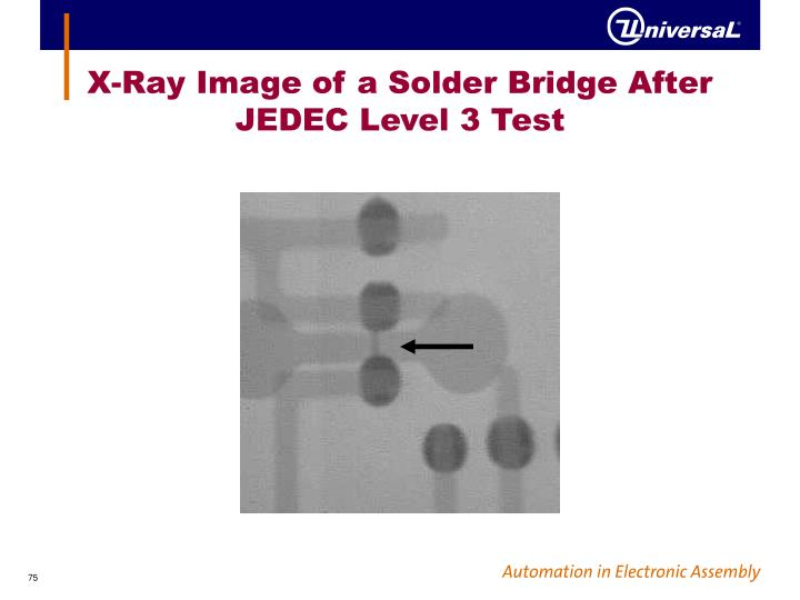 X-Ray Image of a Solder Bridge After JEDEC Level 3 Test