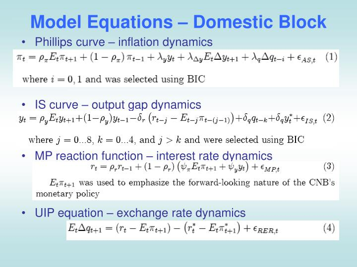 Model Equations – Domestic Block