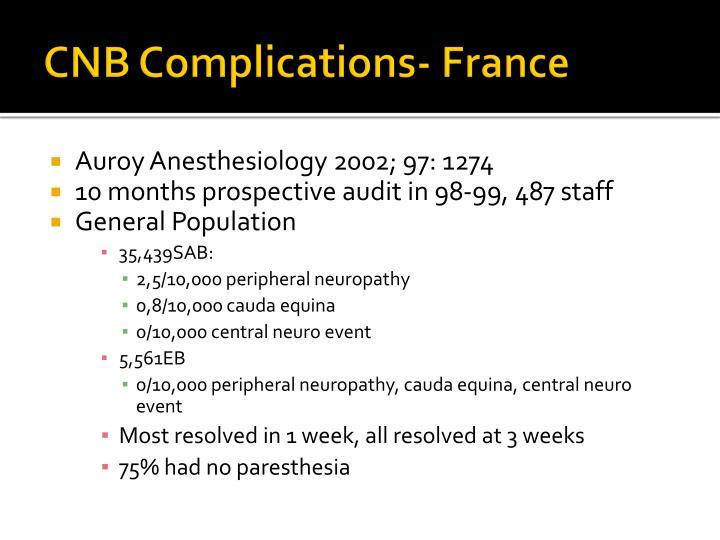 CNB Complications- France