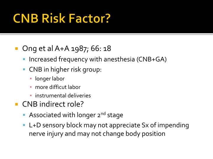 CNB Risk Factor?
