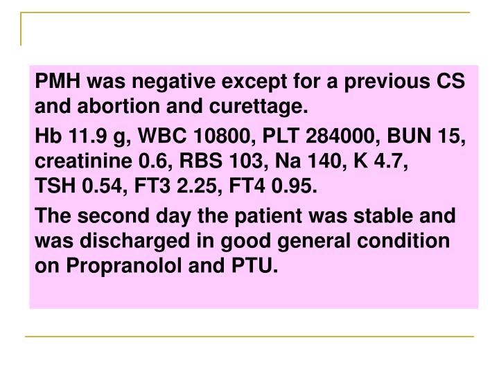 PMH was negative except for a previous CS and abortion and curettage.