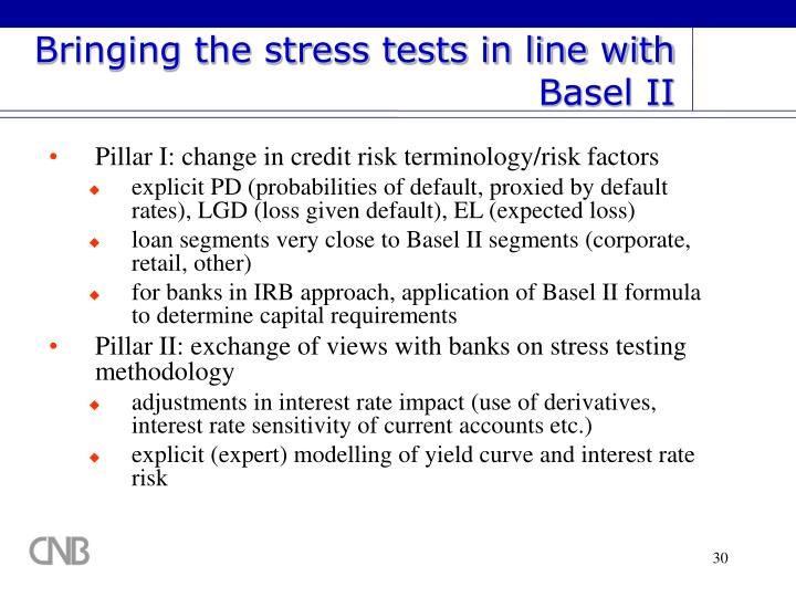 Bringing the stress tests in line with Basel II