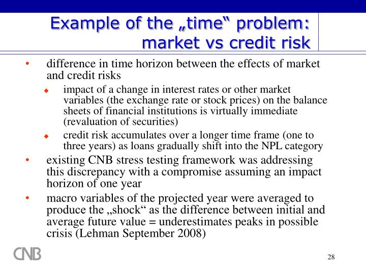 "Example of the ""time"" problem: market vs credit risk"