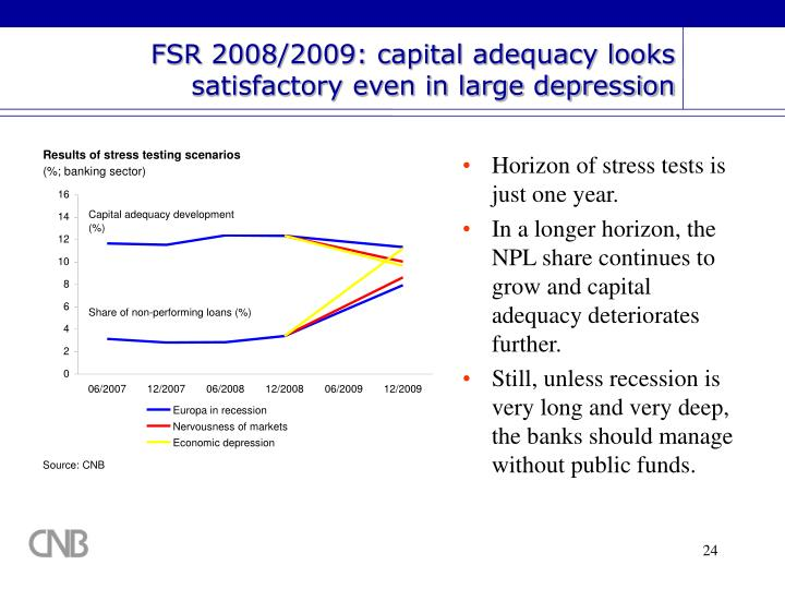 FSR 2008/2009: capital adequacy looks satisfactory even in large depression
