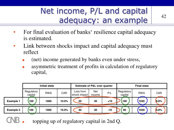 Net income, P/L and capital adequacy: an example