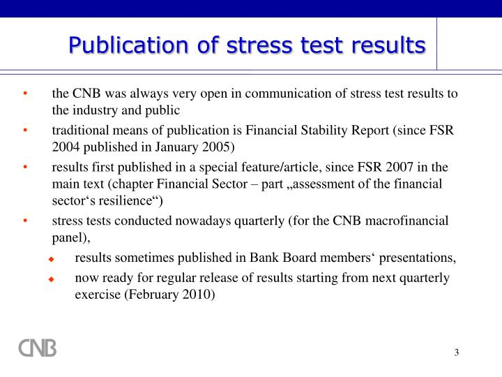 Publication of stress test results