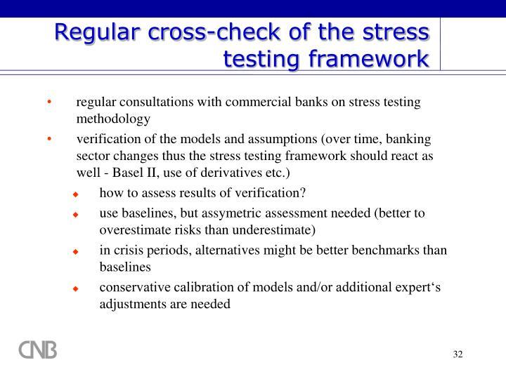 Regular cross-check of the stress testing framework