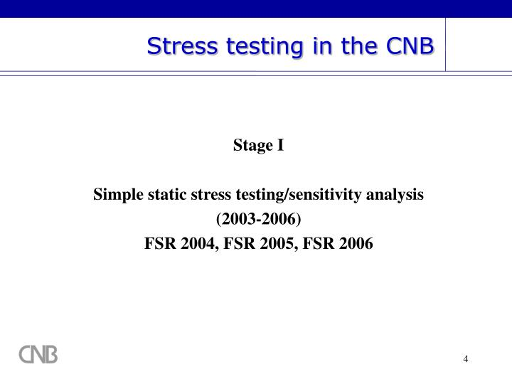 Stress testing in the CNB